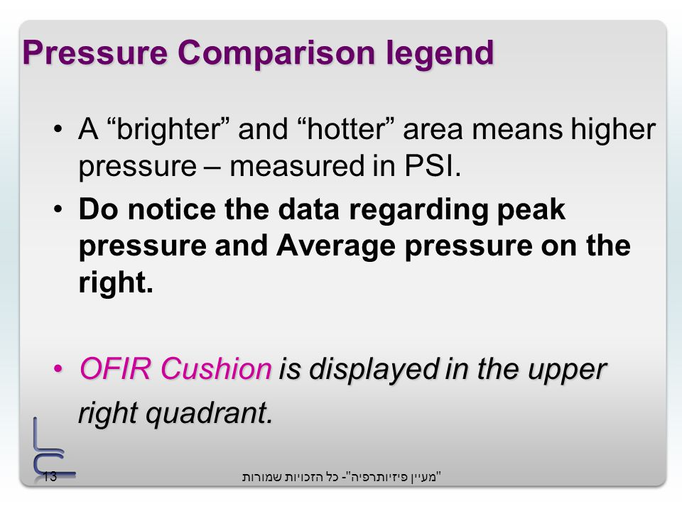 מעיין פיזיותרפיה - כל הזכויות שמורות13 Pressure Comparison legend A brighter and hotter area means higher pressure – measured in PSI.
