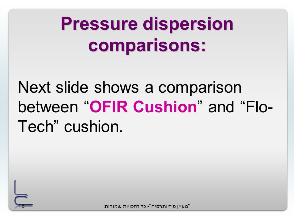 מעיין פיזיותרפיה - כל הזכויות שמורות15 Next slide shows a comparison between OFIR Cushion and Flo- Tech cushion.