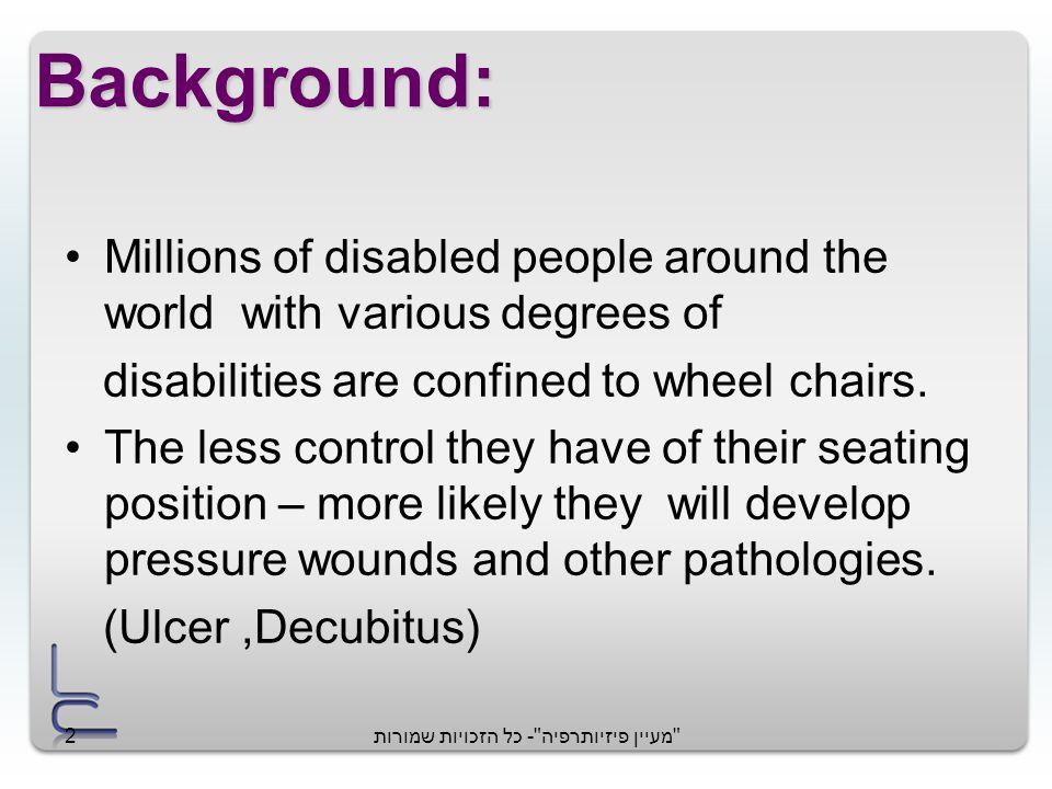 מעיין פיזיותרפיה - כל הזכויות שמורות3 Background A common event we encounter working with disabled people, is the gradual slipping down in the wheel chair due to lessened/lack of control of the lower body.