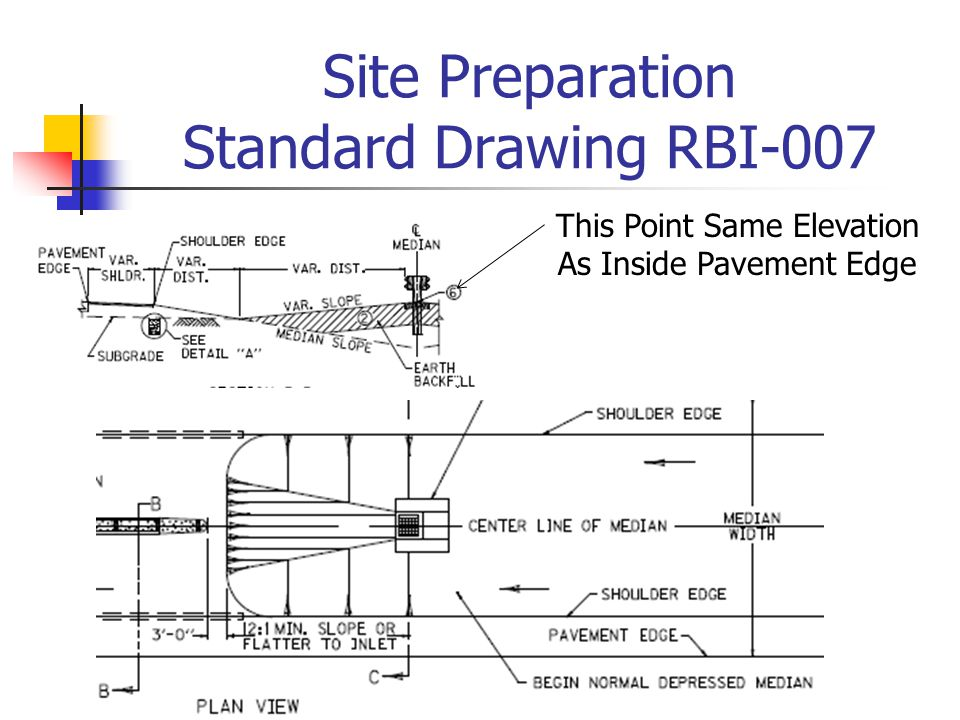 Site Preparation Standard Drawing RBI-007 This Point Same Elevation As Inside Pavement Edge