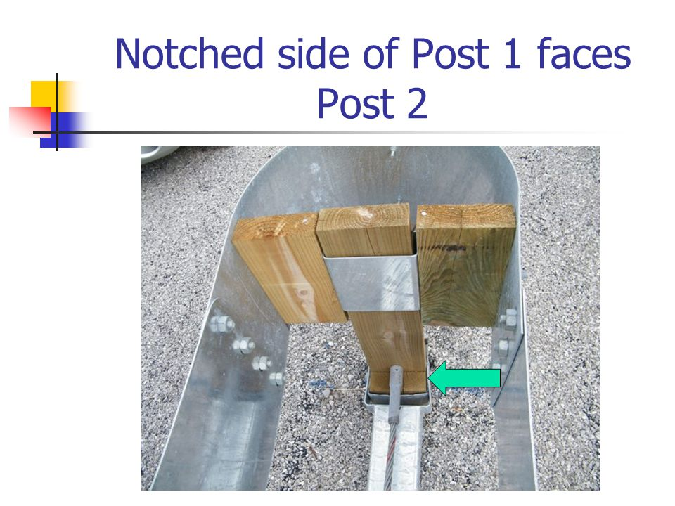 Notched side of Post 1 faces Post 2