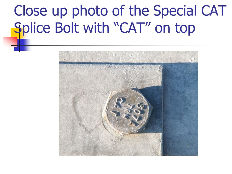 """Close up photo of the Special CAT Splice Bolt with """"CAT"""" on top"""