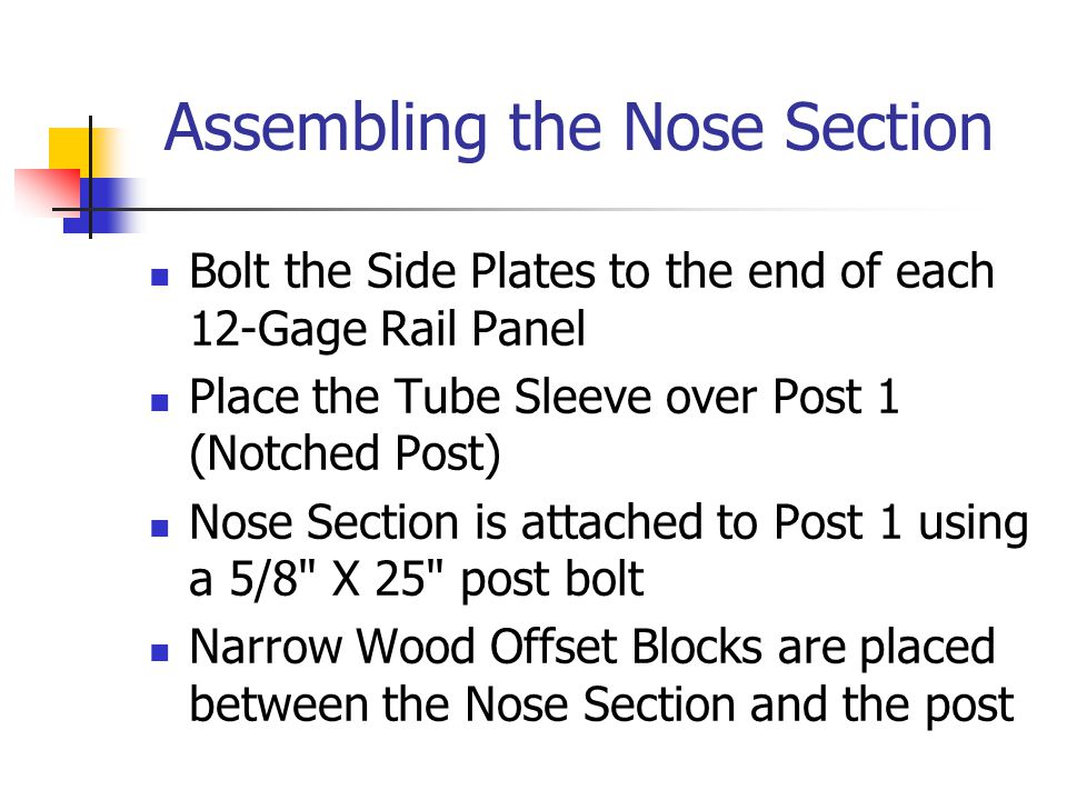 Assembling the Nose Section Bolt the Side Plates to the end of each 12-Gage Rail Panel Place the Tube Sleeve over Post 1 (Notched Post) Nose Section is attached to Post 1 using a 5/8 X 25 post bolt Narrow Wood Offset Blocks are placed between the Nose Section and the post