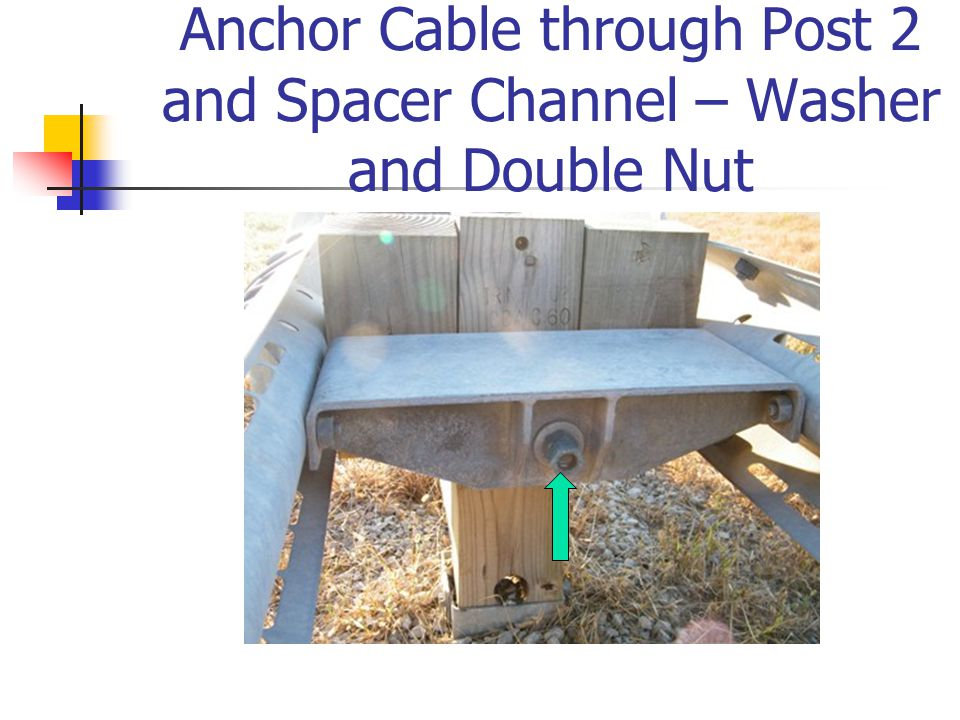 Anchor Cable through Post 2 and Spacer Channel – Washer and Double Nut