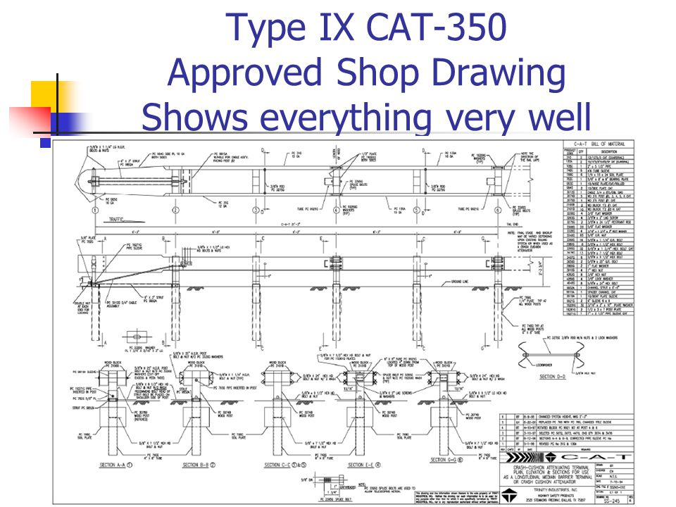 Type IX CAT-350 Approved Shop Drawing Shows everything very well