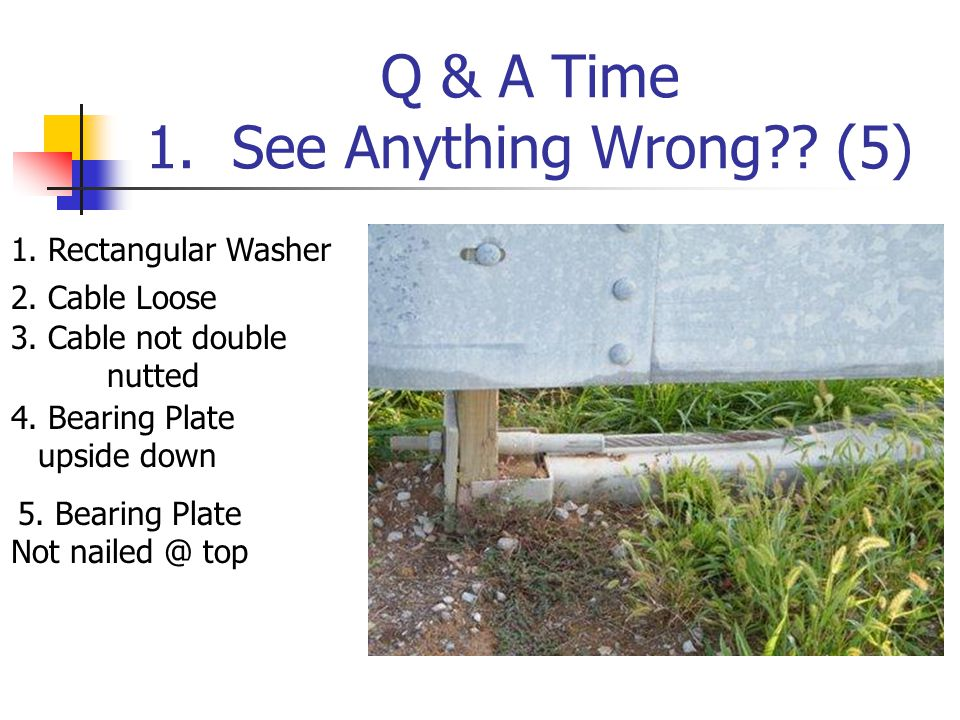 Q & A Time 1. See Anything Wrong?. (5) 1. Rectangular Washer 2.