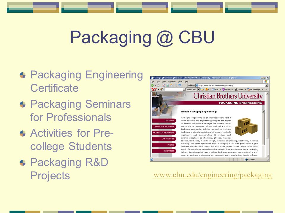Packaging @ CBU Packaging Engineering Certificate Packaging Seminars for Professionals Activities for Pre- college Students Packaging R&D Projects www.cbu.edu/engineering/packaging