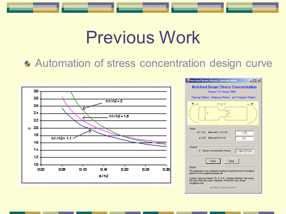 Previous Work Automation of stress concentration design curve