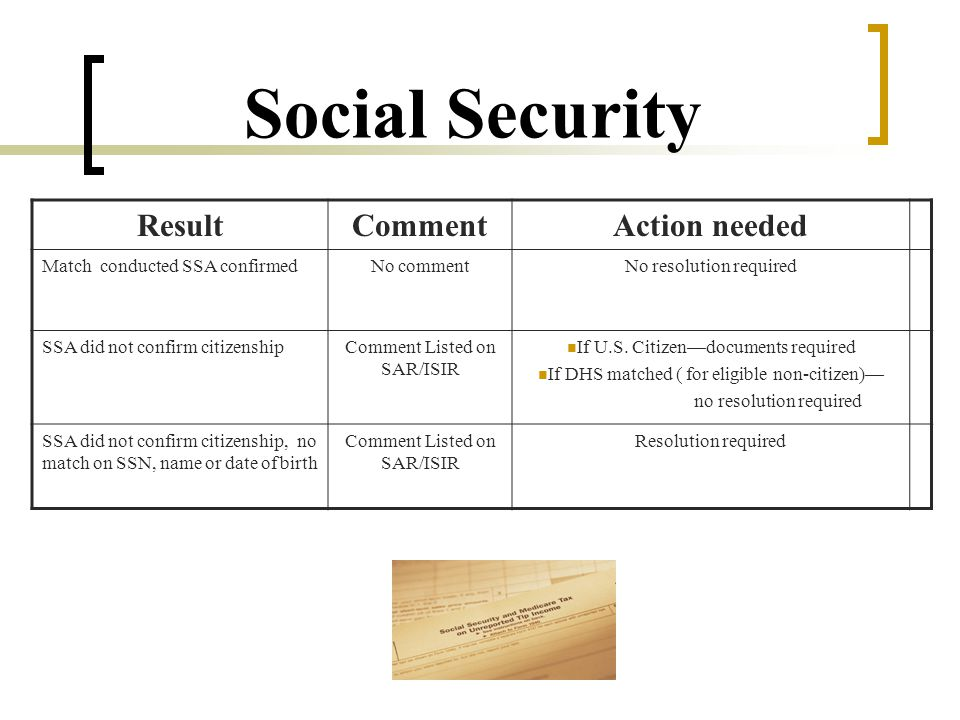 Social Security ResultCommentAction needed Match conducted SSA confirmedNo commentNo resolution required SSA did not confirm citizenshipComment Listed on SAR/ISIR If U.S.