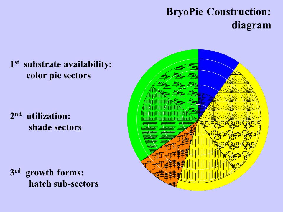 1 st substrate availability: color pie sectors BryoPie Construction: diagram 2 nd utilization: shade sectors 3 rd growth forms: hatch sub-sectors