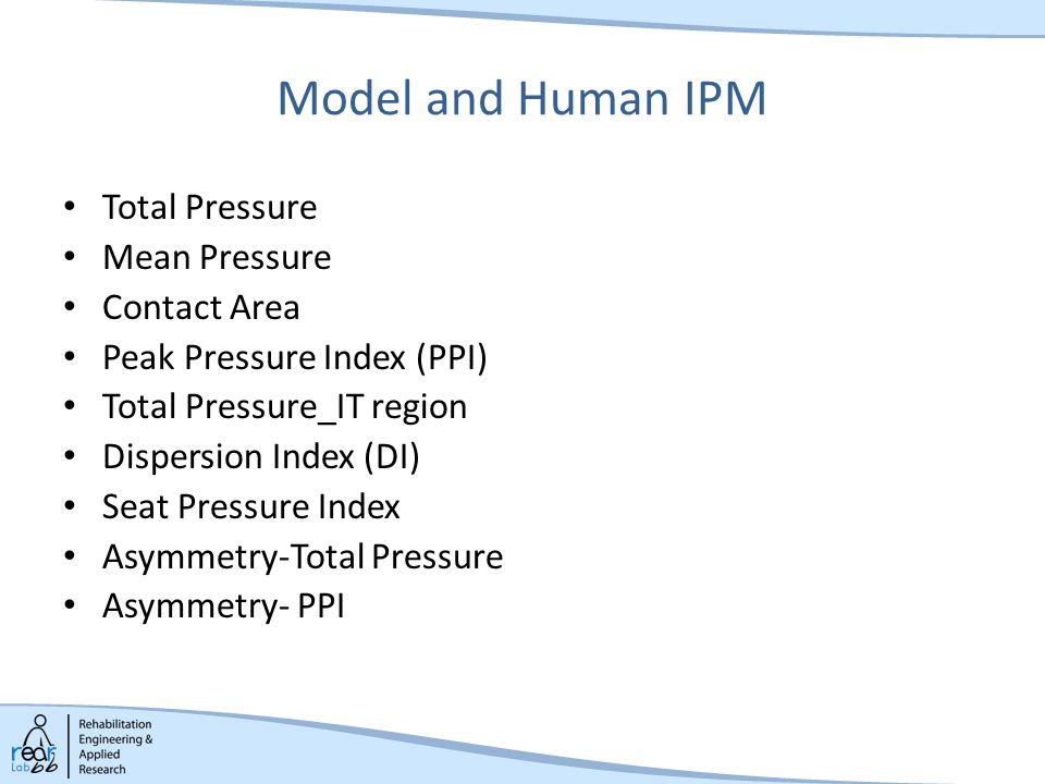 Model and Human IPM Total Pressure Mean Pressure Contact Area Peak Pressure Index (PPI) Total Pressure_IT region Dispersion Index (DI) Seat Pressure Index Asymmetry-Total Pressure Asymmetry- PPI