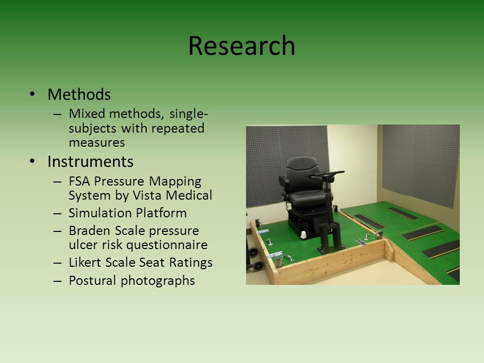 Research Methods – Mixed methods, single- subjects with repeated measures Instruments – FSA Pressure Mapping System by Vista Medical – Simulation Plat