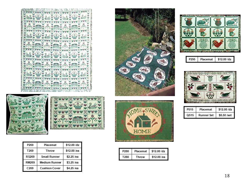 17 P15Placemat$12.00 /dz RM15Medium Runner$3.25 /ea RS239Small Runner$2.25 /ea RM239Medium Runner$3.25 /ea C239Cushion Cover$4.25 /ea P289BPlacemat$12