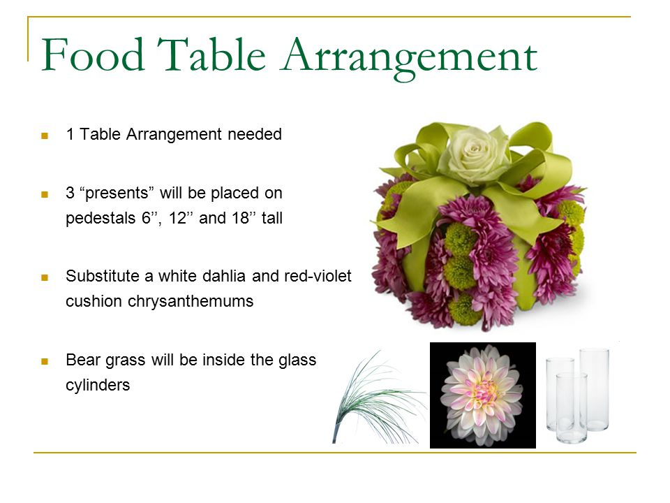 Food Table Arrangement 1 Table Arrangement needed 3 presents will be placed on pedestals 6'', 12'' and 18'' tall Substitute a white dahlia and red-violet cushion chrysanthemums Bear grass will be inside the glass cylinders