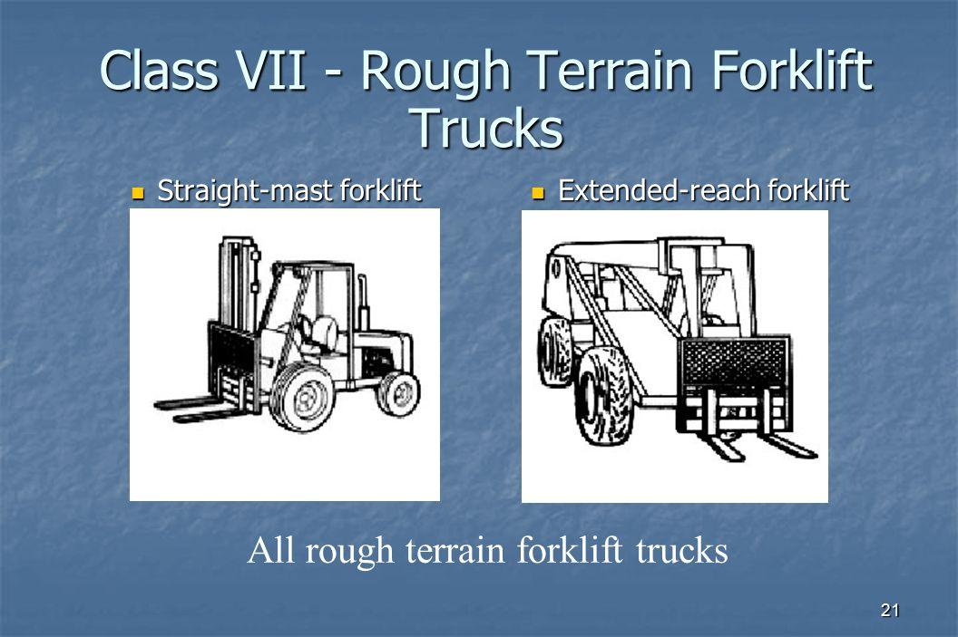 21 Class VII - Rough Terrain Forklift Trucks Straight-mast forklift Straight-mast forklift Extended-reach forklift Extended-reach forklift All rough t