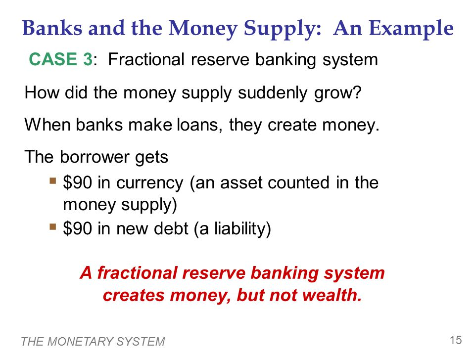 THE MONETARY SYSTEM 15 Banks and the Money Supply: An Example How did the money supply suddenly grow.