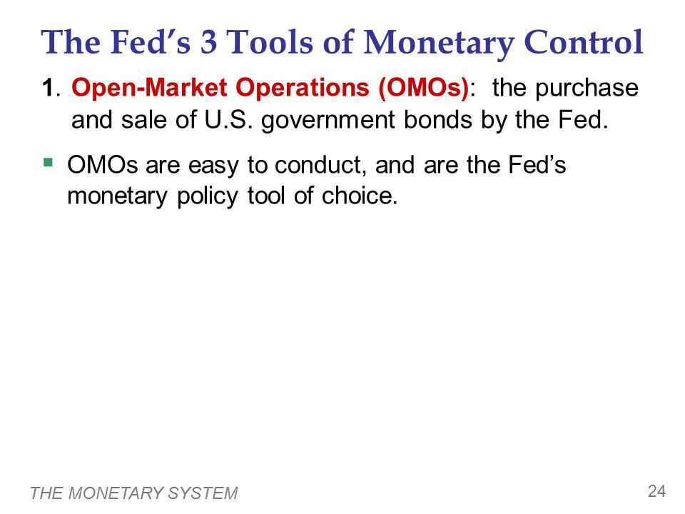 THE MONETARY SYSTEM 24 The Fed's 3 Tools of Monetary Control 1.