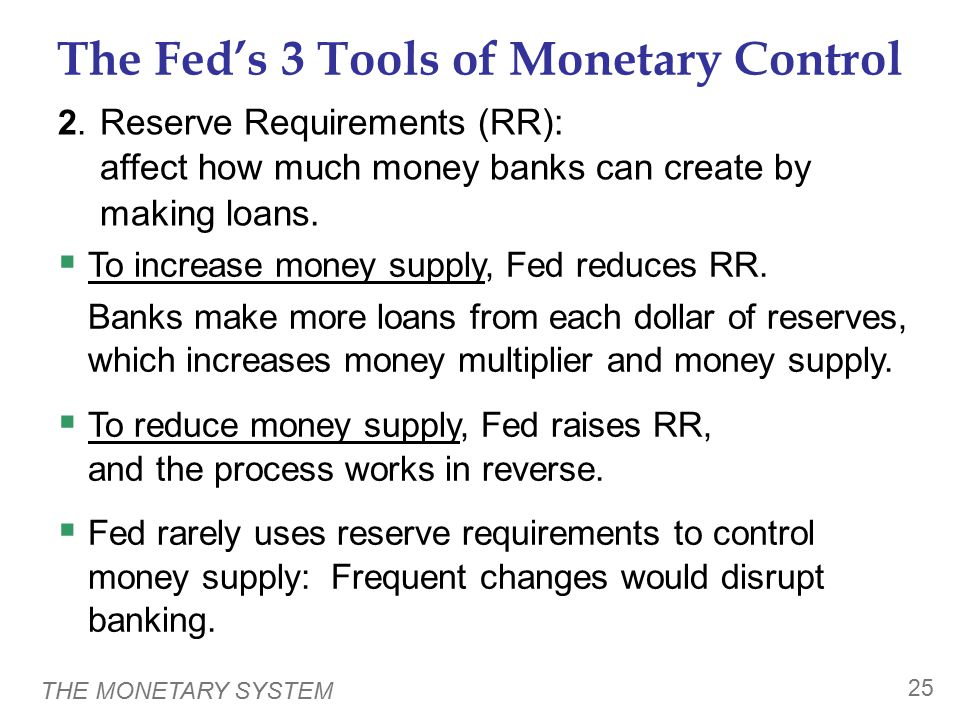THE MONETARY SYSTEM 25 The Fed's 3 Tools of Monetary Control 2. Reserve Requirements (RR): affect how much money banks can create by making loans.  T