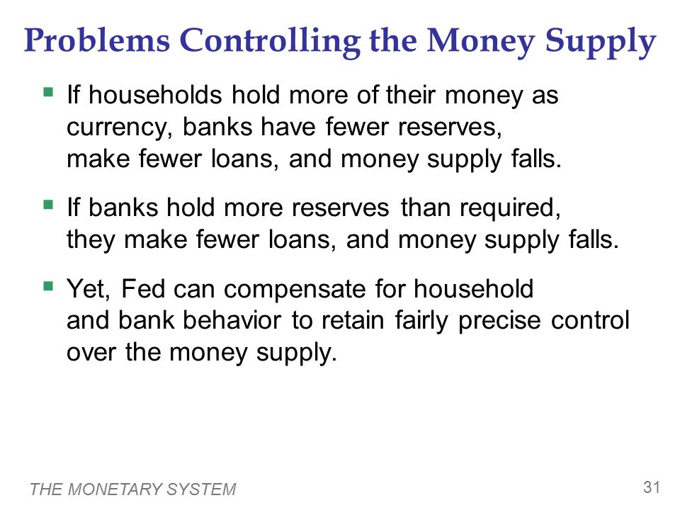 THE MONETARY SYSTEM 31 Problems Controlling the Money Supply  If households hold more of their money as currency, banks have fewer reserves, make few