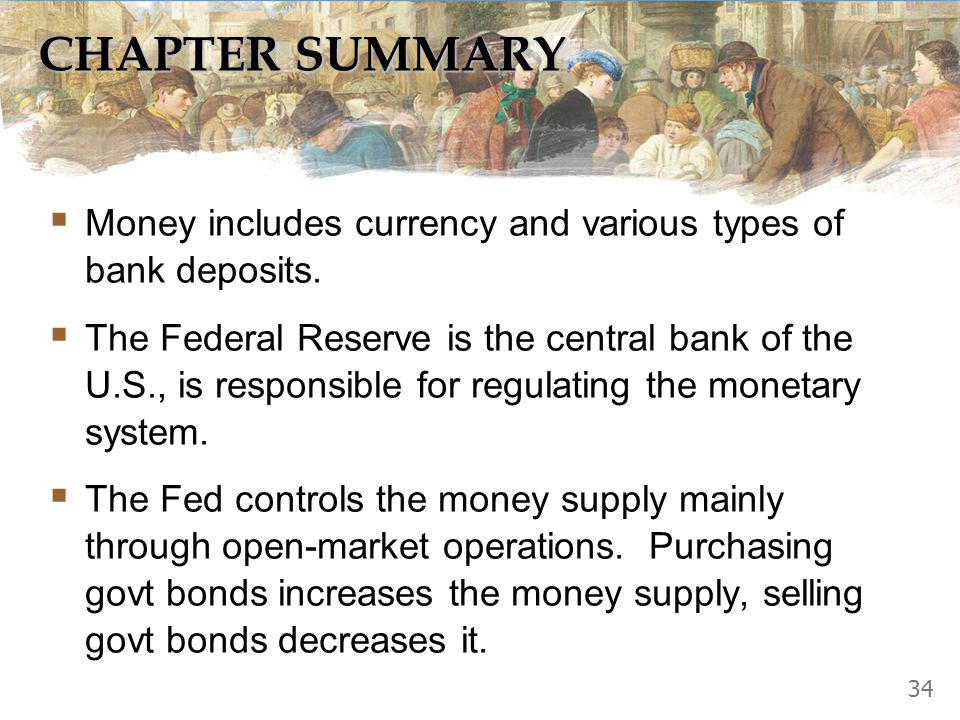 CHAPTER SUMMARY  Money includes currency and various types of bank deposits.