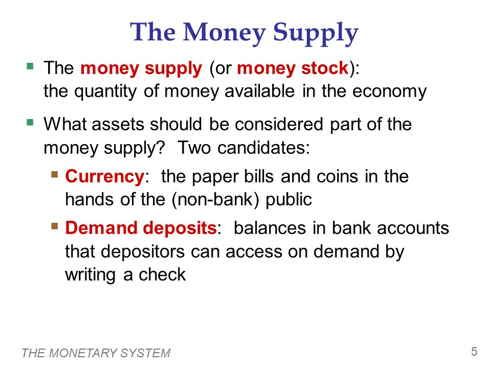 THE MONETARY SYSTEM 6 Measures of the U.S.