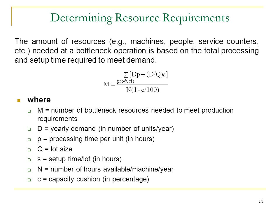 Determining Resource Requirements where  M = number of bottleneck resources needed to meet production requirements  D = yearly demand (in number of