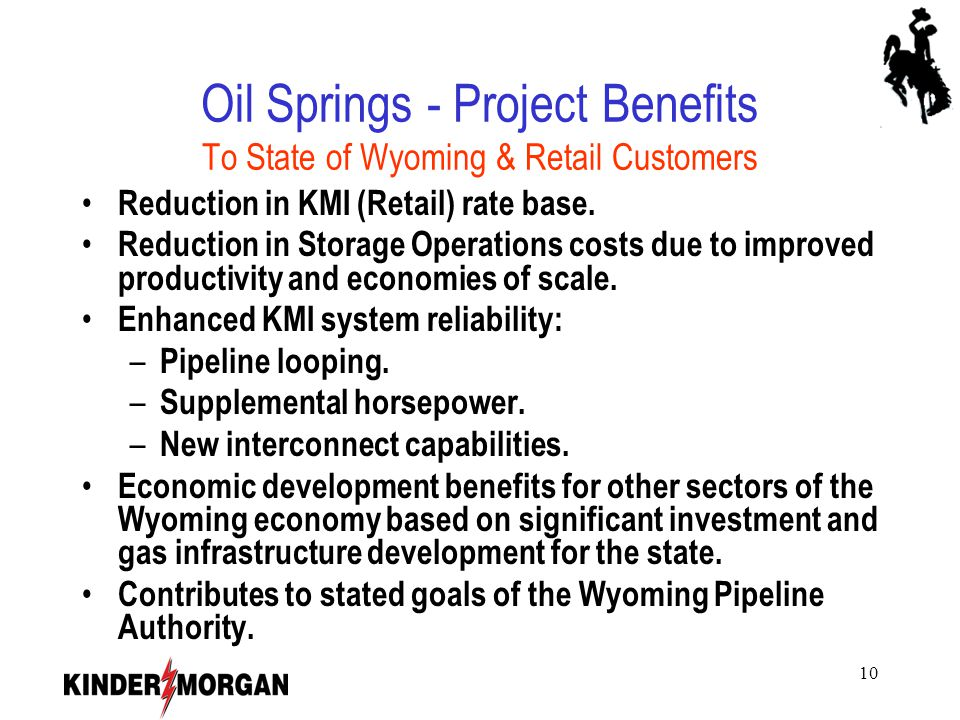 10 Oil Springs - Project Benefits To State of Wyoming & Retail Customers Reduction in KMI (Retail) rate base.