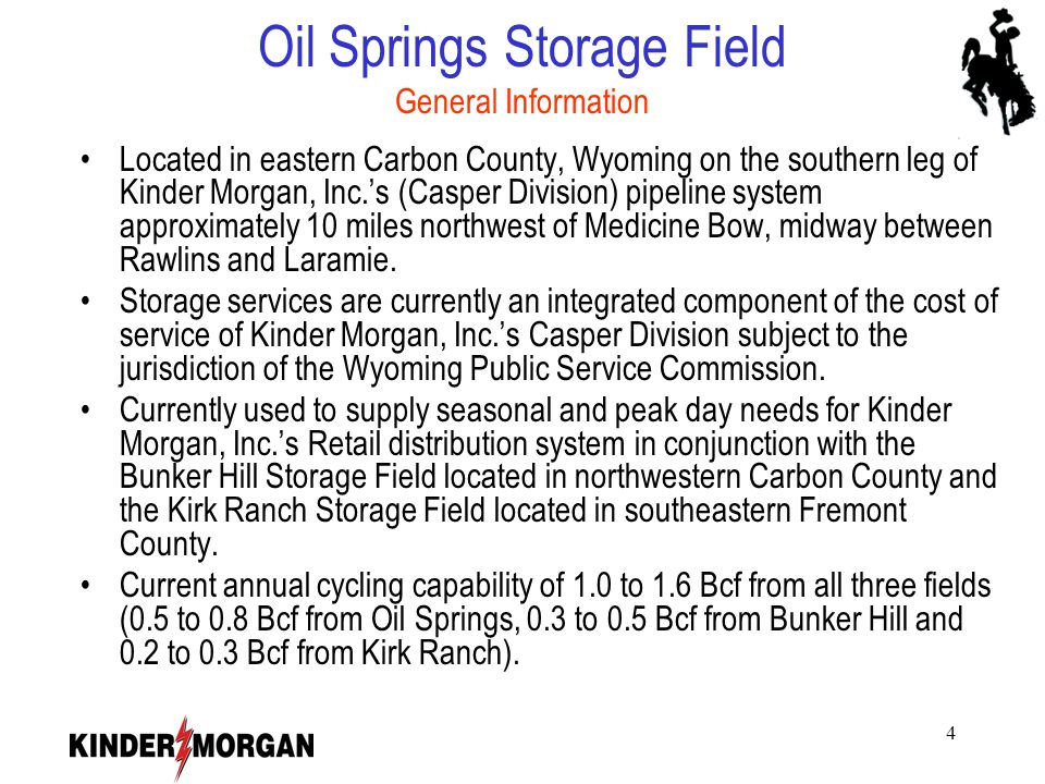 5 Oil Springs - Project Summary Expand storage capability and off system utilization.