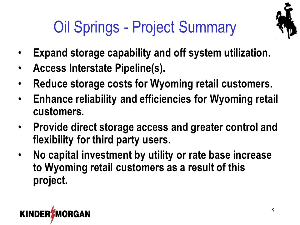 6 Oil Springs - Proposed Services Meeting the Needs of the Wyoming Marketplace Proposed Storage Services to include: – Firm Storage Service.