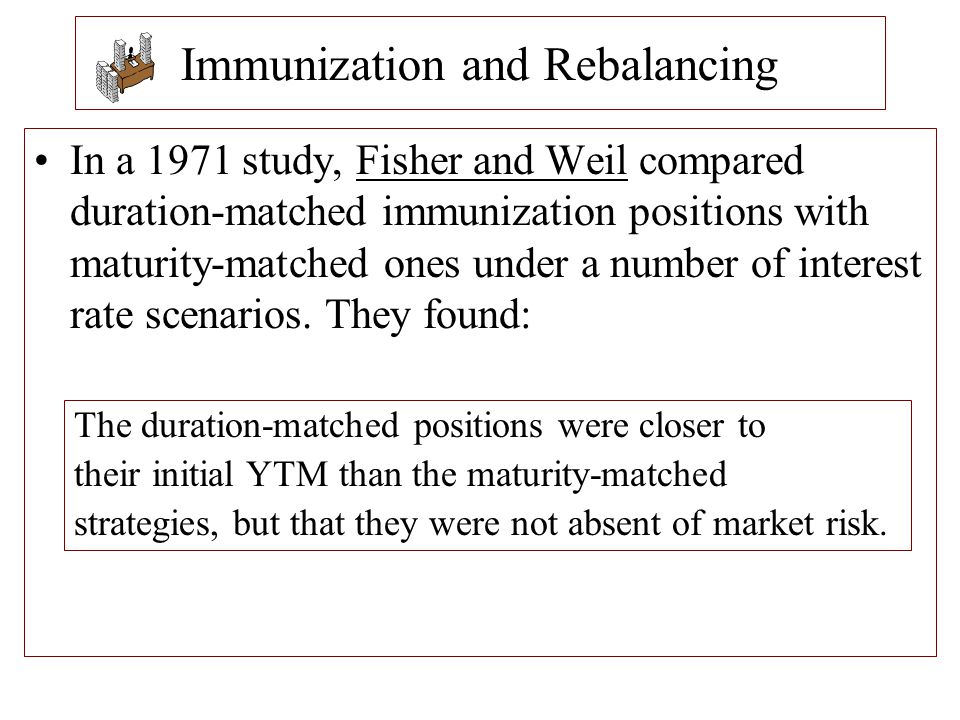 Immunization and Rebalancing In a 1971 study, Fisher and Weil compared duration-matched immunization positions with maturity-matched ones under a numb