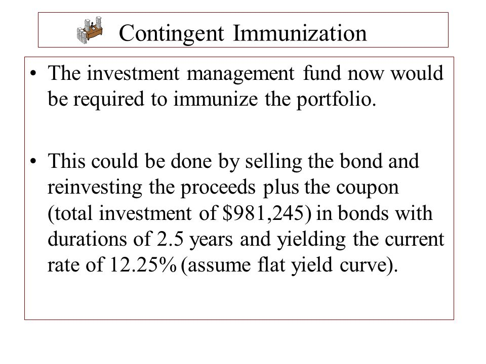 The investment management fund now would be required to immunize the portfolio. This could be done by selling the bond and reinvesting the proceeds pl