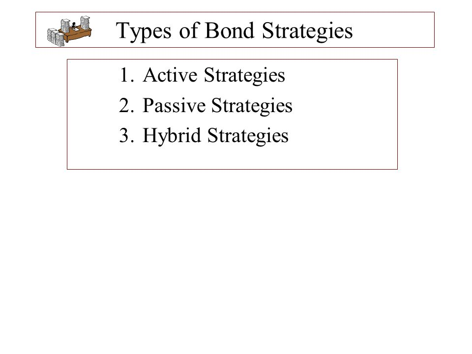 Passive Strategies The objectives of passive management strategies can include: –A simple buy-and-hold approach of investing in bonds with specific maturities, coupons, and quality ratings with the intent of holding the bonds to maturity –Forming portfolios with returns that mirror the returns on a bond index –Constructing portfolios that ensure there are sufficient funds to meet future liabilities.