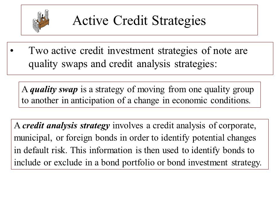 Active Credit Strategies Two active credit investment strategies of note are quality swaps and credit analysis strategies: A quality swap is a strateg