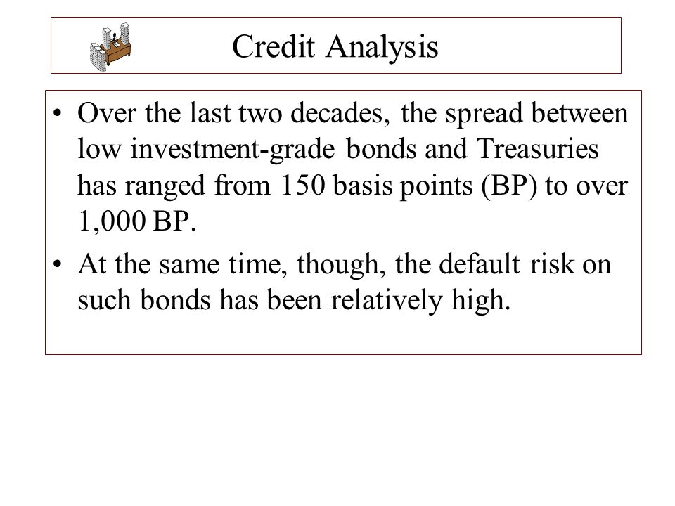 Credit Analysis Over the last two decades, the spread between low investment-grade bonds and Treasuries has ranged from 150 basis points (BP) to over