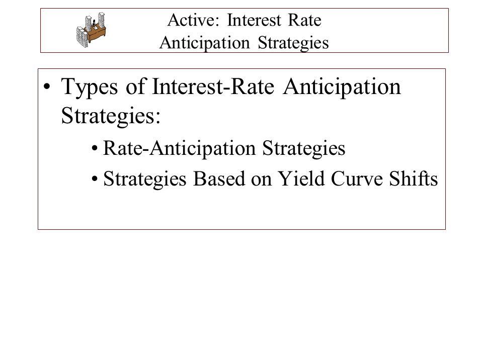 Rate-Anticipation Strategies Rate-Anticipation Strategies are active strategies of selecting bonds or bond portfolios with specific durations based on interest rate expectations.