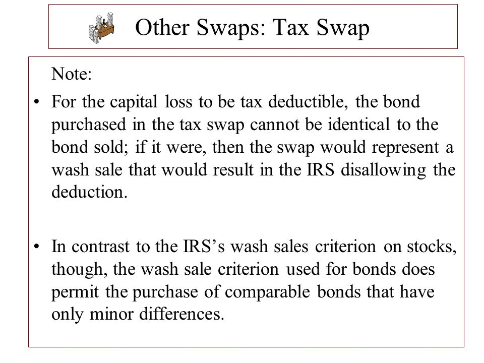 Other Swaps: Tax Swap Note: For the capital loss to be tax deductible, the bond purchased in the tax swap cannot be identical to the bond sold; if it