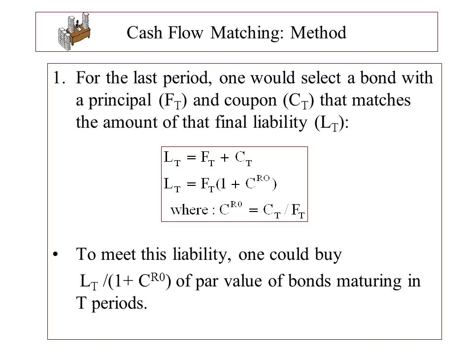 Cash Flow Matching: Method 1.For the last period, one would select a bond with a principal (F T ) and coupon (C T ) that matches the amount of that fi