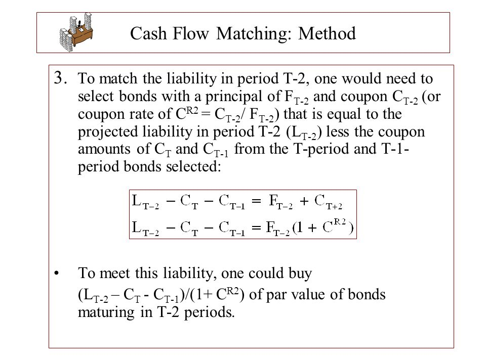 Cash Flow Matching: Method 3. To match the liability in period T-2, one would need to select bonds with a principal of F T-2 and coupon C T-2 (or coup