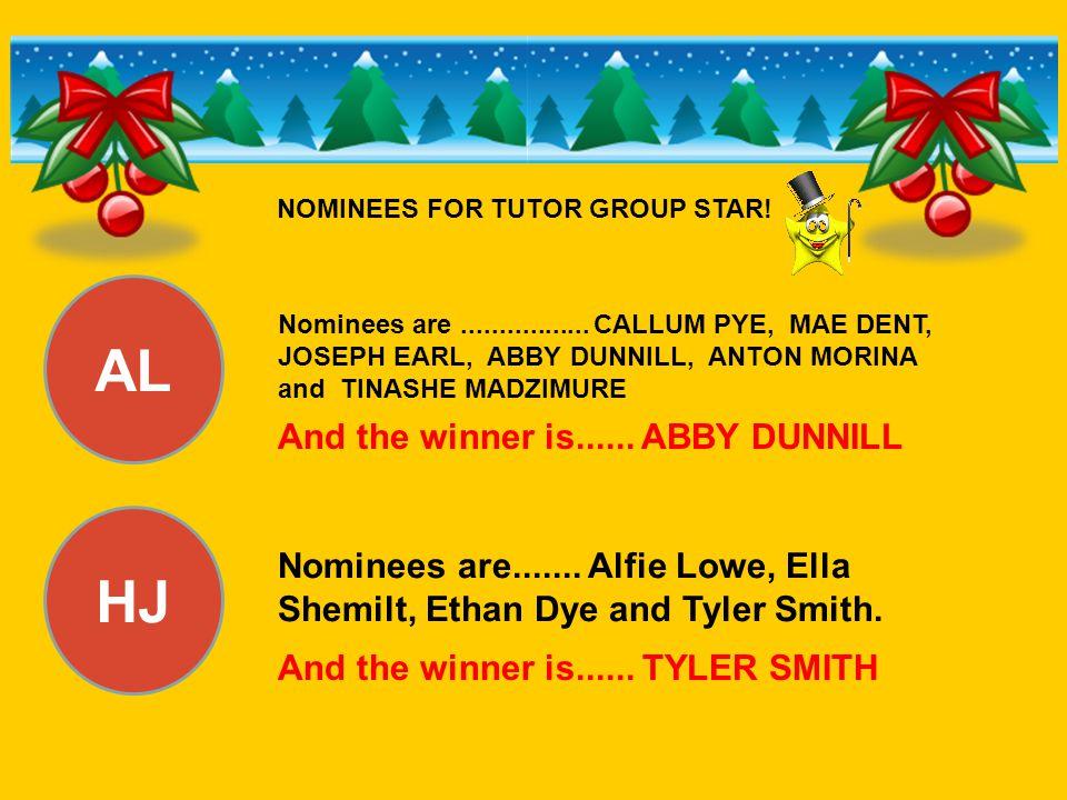AL HJ Nominees are................. CALLUM PYE, MAE DENT, JOSEPH EARL, ABBY DUNNILL, ANTON MORINA and TINASHE MADZIMURE And the winner is...... ABBY D