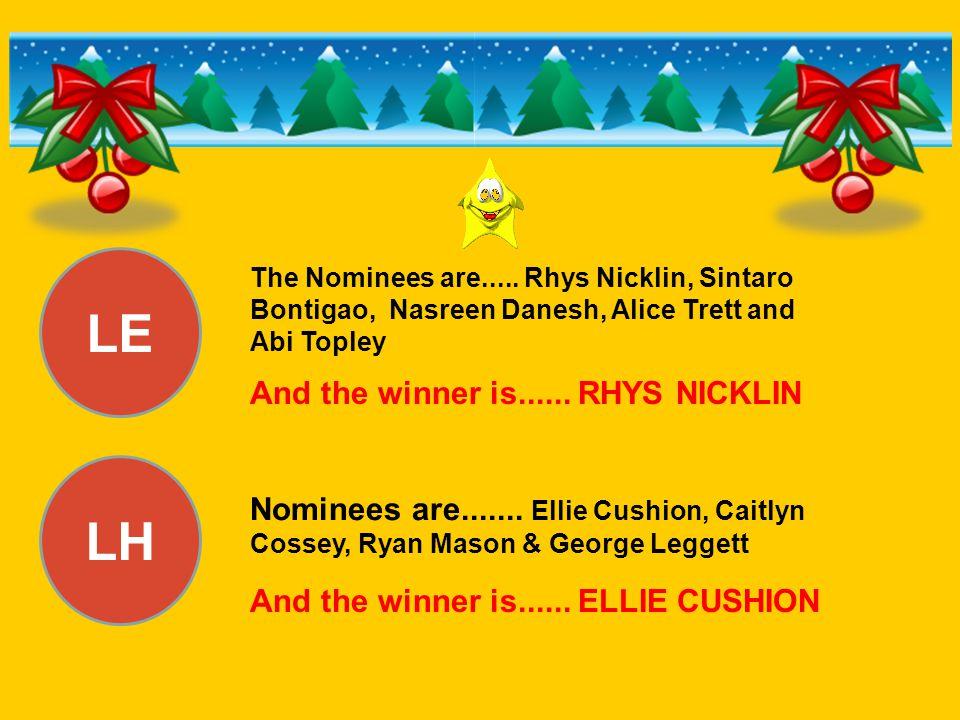 LE LH And the winner is...... RHYS NICKLIN Nominees are....... Ellie Cushion, Caitlyn Cossey, Ryan Mason & George Leggett And the winner is...... ELLI