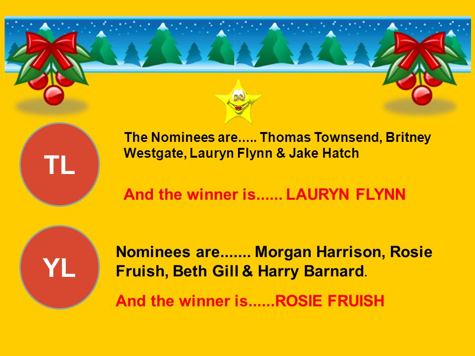 TL YL And the winner is...... LAURYN FLYNN Nominees are.......