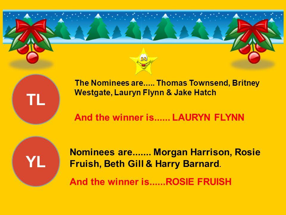 TL YL And the winner is...... LAURYN FLYNN Nominees are....... Morgan Harrison, Rosie Fruish, Beth Gill & Harry Barnard. And the winner is......ROSIE