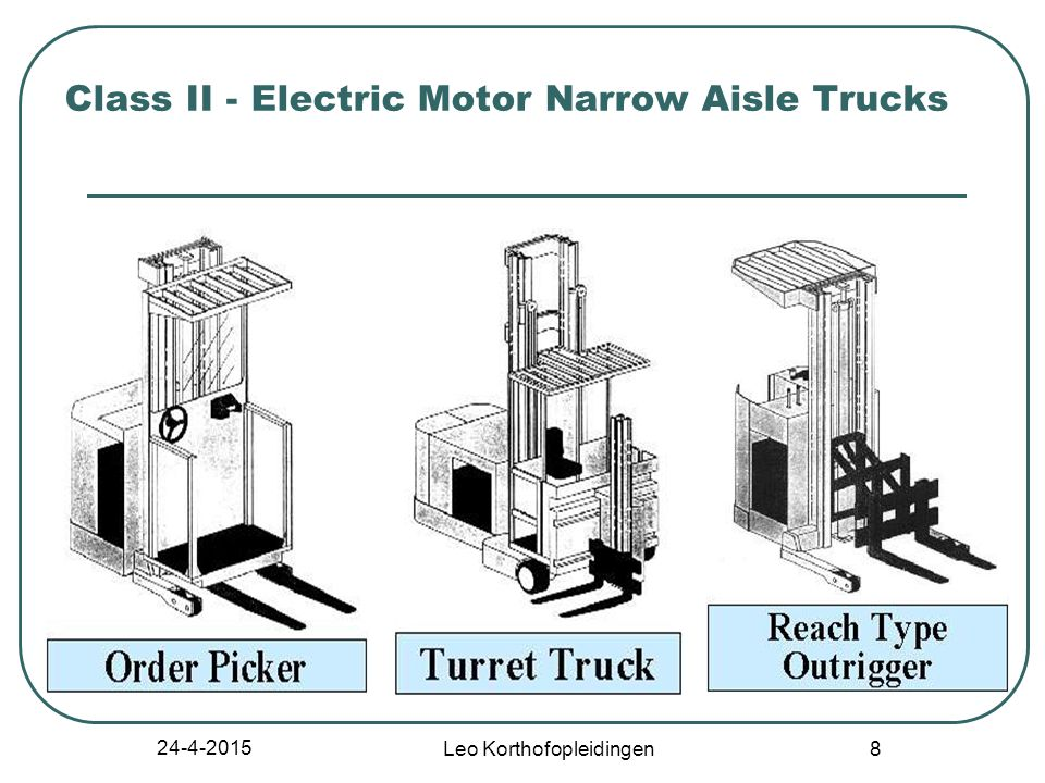 24-4-2015 Leo Korthofopleidingen 7 Class II - Electric Motor Narrow Aisle Trucks High lift straddle Order picker Reach type outrigger Side loaders, turret trucks, swing mast and convertible turret/stock pickers Low lift pallet and platform (rider)