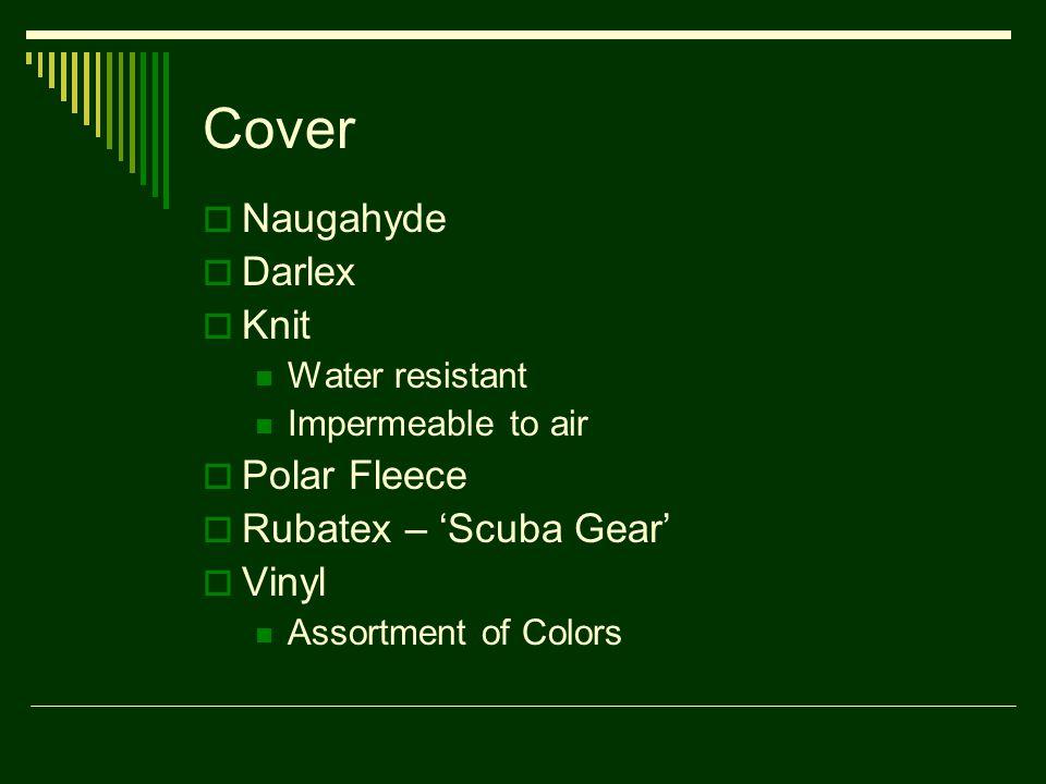 Cover  Naugahyde  Darlex  Knit Water resistant Impermeable to air  Polar Fleece  Rubatex – 'Scuba Gear'  Vinyl Assortment of Colors