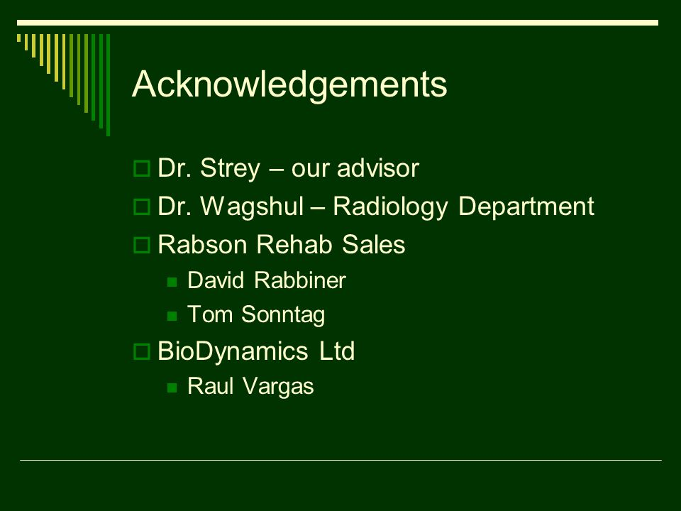 Acknowledgements  Dr. Strey – our advisor  Dr.