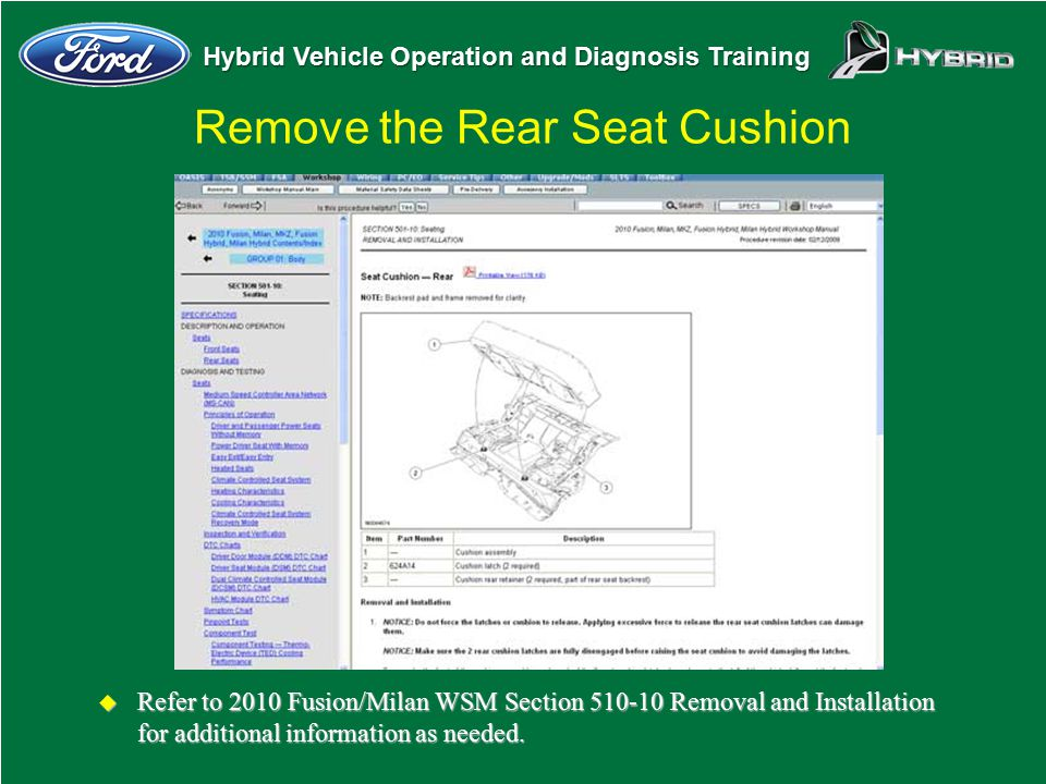 Hybrid Vehicle Operation and Diagnosis Training u Refer to 2010 Fusion/Milan WSM Section 510-10 Removal and Installation for additional information as