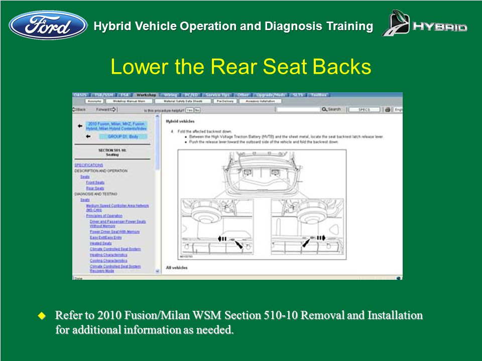 Hybrid Vehicle Operation and Diagnosis Training Lower the Rear Seat Backs u Refer to 2010 Fusion/Milan WSM Section 510-10 Removal and Installation for