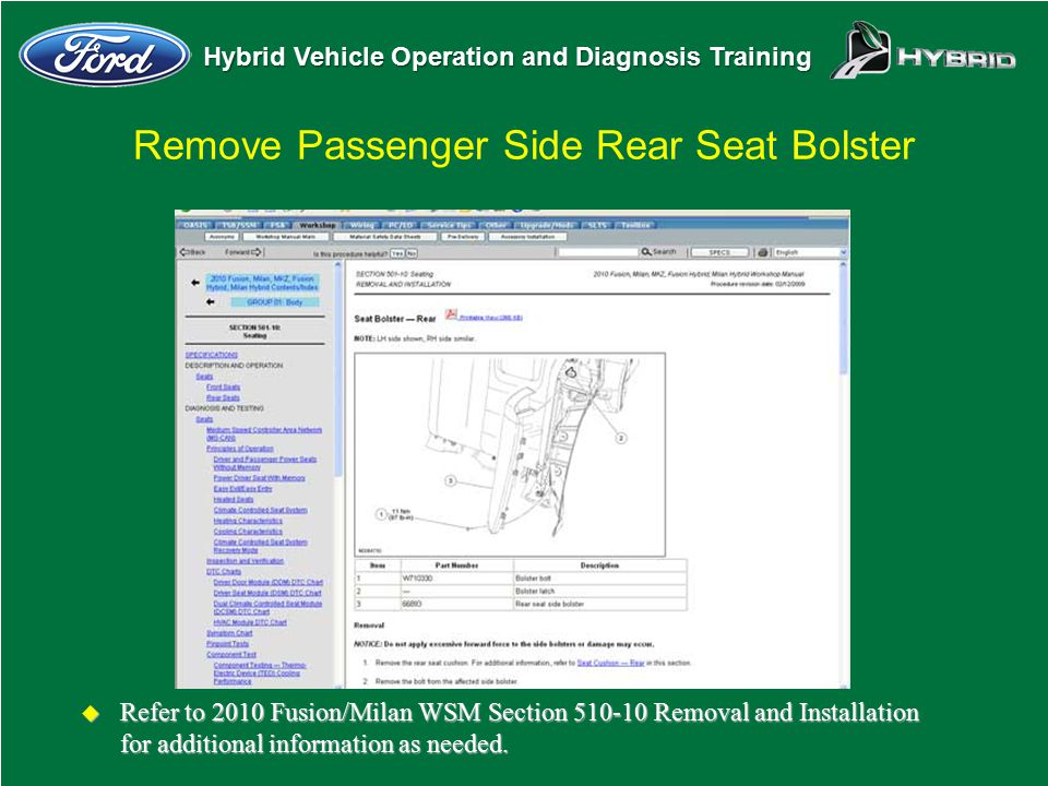 Hybrid Vehicle Operation and Diagnosis Training Remove Passenger Side Rear Seat Bolster u Refer to 2010 Fusion/Milan WSM Section 510-10 Removal and In
