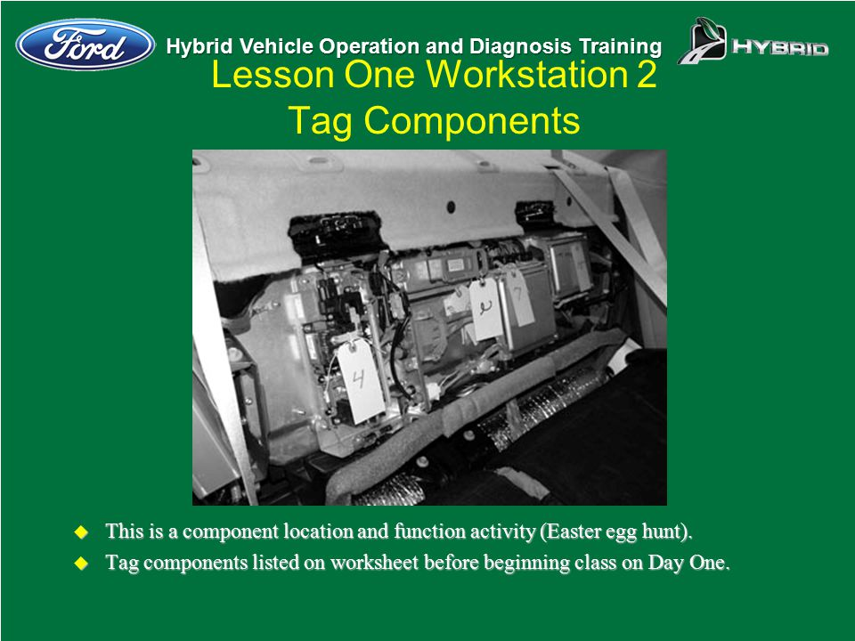 Hybrid Vehicle Operation and Diagnosis Training Lesson One Workstation 2 Tag Components u This is a component location and function activity (Easter e