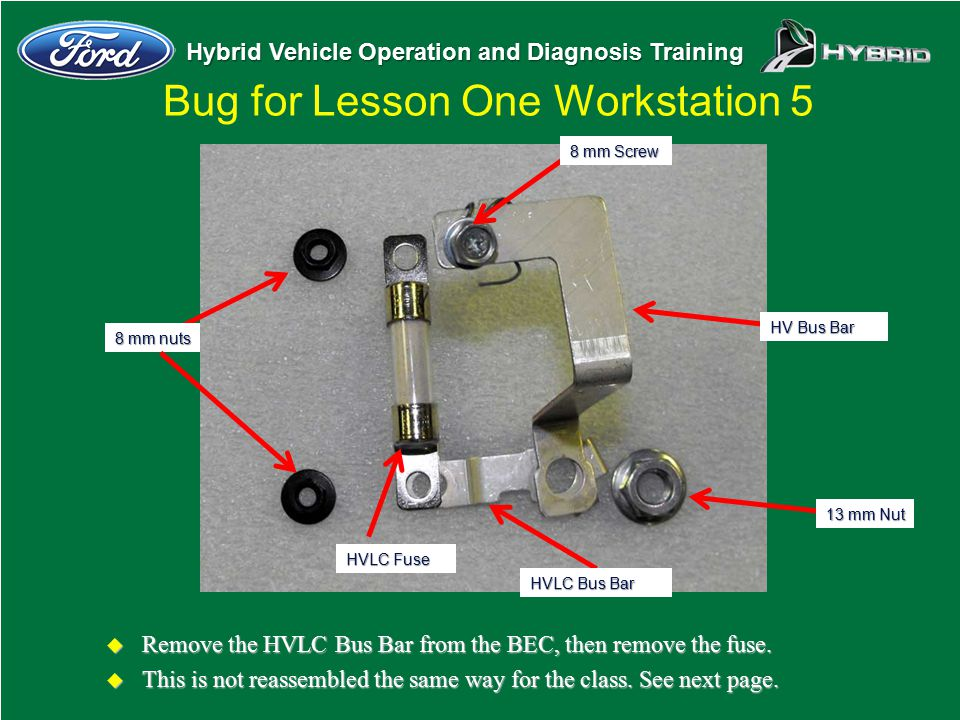 Hybrid Vehicle Operation and Diagnosis Training Bug for Lesson One Workstation 5 u Remove the HVLC Bus Bar from the BEC, then remove the fuse. u This